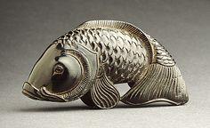 Kiyoshi (Japan)   Carp, 19th century  Netsuke, Ebony,