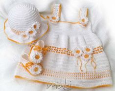 LEA summer baby set crochet pattern  This instant download crochet pattern is my original design and it may not be distributed in any form. You can sell items that you make using the pattern, the only thing I ask is that you put a link to my store mentioning the pattern: https://www.etsy.com/shop/MakiCrochet  I use this yarn www.ravelry.com/yarns/library/unitas-mirabela. You can also use some of these brands if they are available to you for my patterns Aunt Lydias fashion 3 size 100%…