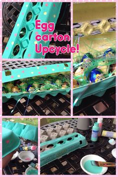 Don't throw out your empty egg cartons. Up-cycle them for Easter!   I added a variety of Egg Cremes with grass   I used acrylic paint and an eraser tip for the polka dots.