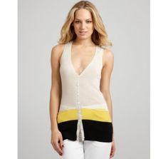 Limestone Colorblocked Cashmere V-Neck Racerback Vest by Autumn Cashmere -   Wear this sweater vest out and about on weekends or on that date with a hot hunk. This top would make anyone feel sexy. The black, yellow, and limestone color combo is killer. I bet this is crazy comfortable too.