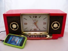 Reserved for Charles        Arvin Clock Radio iPod Ready Model 857T 1955. $195.00, via Etsy.