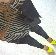 Your Outfit Today » Outfit : Stripes and Yellow, April 26 2013.  Outfit: Yellow heels : Sacha Striped blouse : Zara Skinny jeans : Zara