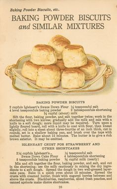 Shortening Bread Cookies Recipes New Farm Girl Pink Vintage Recipes Swans Down Flour Cookbook Recipes, Baking Recipes, Cookie Recipes, Scone Recipes, Flour Recipes, Donut Recipes, Baking Powder Biscuits, Baking Flour, Retro Recipes