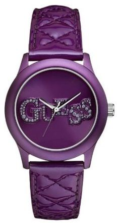 Guess Women's U96004L1 Leather Quartz Watch with Purple Dial Price: $109.97