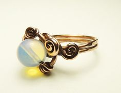moon stone ring  copper wire wrapp moon stone ring  by keoops8, $10.00