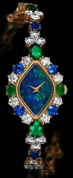 DeLaneau Opal-Faced Watch with what look to be Gems -Diamonds, Emeralds and Blue Sapphires♥♥