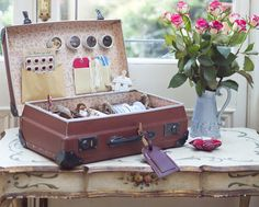 Organise your craft life with a couple of baskets, a few tins and a vintage suitcase