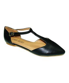 Another great find on #zulily! Black T-Strap Flat by Red Heart #zulilyfinds