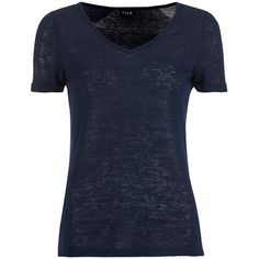 VILA Women's Visumi T-Shirt - Total Eclipse ($10) ❤ liked on Polyvore featuring tops, t-shirts, blue, v neck tee, vila, blue tee, short sleeve tee and polyester t shirts