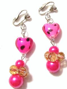 Handcrafted  Silver Plated Clips  Pink Black Hearts by ChelleStore, $8.00