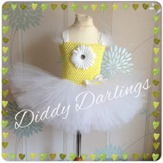 Daisy Tutu Dress. Yellow and White Tutu Dress. by DiddyDarlings