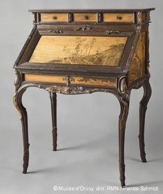 """Emile Gallé / My husband loves the British Colonial or """"old world"""" look of furniture, luggage, maps, etc."""