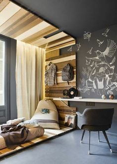 originale chambre ado fille ou garçon deco en lambris en bois clair
