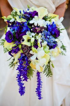 Hyacinth blossom chains were added for the slightly cascading shape of this bouquet. The blossoms were removed from the flower and then strung lei style on a thin wire to give a trailing shape to the bouquet. Jewel Tone Wedding, Purple Wedding, Wedding Flowers, Dream Wedding, Bride Flowers, Wedding Blog, Purple Flowers, Wedding Ideas, Wedding Inspiration