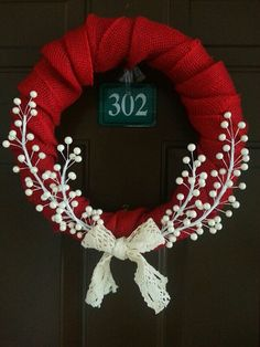 Country Christmas Wreath by LittleLadyWeaver on Etsy, $30.00, DIY idea, Christmas wreath, winter wreath, red and white wreath, winter projects