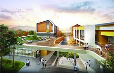 e34 경남산청중학교 신축설계 Architecture Today, Education Architecture, Facade Architecture, Sustainable Schools, School Building Design, Studio Floor Plans, Kindergarten Design, Social Housing, Facade Design