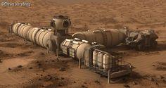 Mars space habitat conceptual design image by Bryan Versteeg...spacehabs.com