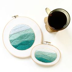 Mini Mediterranean Sea - Hand Stitched Nautical Embroidery Hoop Art by SarahKBenning on Etsy https://www.etsy.com/listing/242140313/mini-mediterranean-sea-hand-stitched