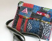 Reserved for Cindy. Upcycled Bag Cross the body style Blues Orange and Pink One of a Kind
