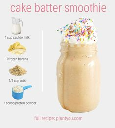 This Birthday Cake Smoothie is a creamy, dreamy, protein packed VEGAN shake you will be dying to make again and again for breakfast or a snack. High Protein Smoothies, High Protein Vegan Recipes, Protein Smoothie Recipes, Easy Smoothies, Vegan Meals, Protein Foods, Protein Bars, Protein Shakes, Healthy Milkshake