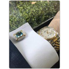 Blue Topaz Sterling Silver Cufflinks, Rhodium & 18K Yellow Gold plated, Luxury…