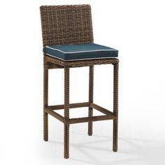 Crosley Furniture Bradenton Outdoor Wicker Bar Height Stools (Set of 2) with Navy Cushions, Brown