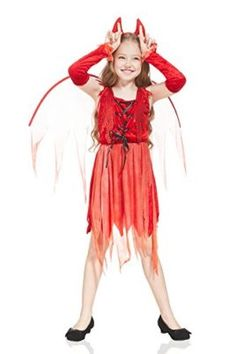 d5e1c96ea4 Kids Girls Little She-Devil Demon Costume Halloween Party Gothic Goth Dress  Up --