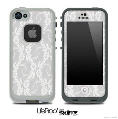White Lace Skin for the iPhone 4/4s or 5 LifeProof Case