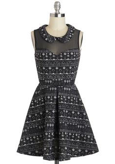 Graceful Geometry Dress - Sheer, Short, Black, White, Print, Peter Pan Collar, Fit & Flare, Sleeveless, Collared, Party
