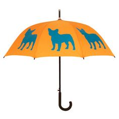 French Bulldog Walking Stick Umbrella...these come in all kinds of breeds, in fun colors.  and cats too!