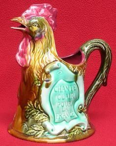 """Onnaing Majolica Rooster Jug. """"Sing Loudly for France"""". Fund raising slogan for…"""