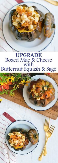Ways to Upgrade Boxed Mac & Cheese with this Butternut Squash & Sage Recipe! An easy vegetarian Fall dinner!