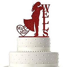 Sugar Yeti Made In USA Personalized Wedding Cake Topper Love Groom Kissing Bride Red Glitter Personalized Wedding Cake Toppers, Red Glitter, Wedding Cakes, Groom, Make It Yourself, Bride, Kissing, Wedding Ideas, Sugar