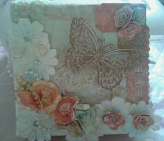 Mixed Medium Canvas Work.  Flowers and Butterfly.