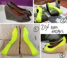 diy sandals | Re-design: Neon Wedges | THE KEY ITEM - Fashion Accessories Blog
