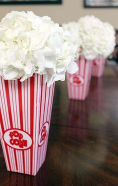 Big Top Baby Shower Popcorn Hydrangeas for Circus Baby Shower Popcorn Hydrangeas for Circus Baby Shower Carnival Themed Party, Carnival Birthday Parties, Circus Birthday, Circus Party Favors, Circus Invitations, Carnival Baby Showers, Pop Baby Showers, Baby Shower Themes, Baby Shower Centerpieces