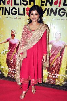 Konkona Sen Sharma in English Vinglish promo wearing #AnarkaliSuit