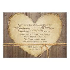 Rustic Wood Fence Boards Heart Rehearsal Dinner Invite