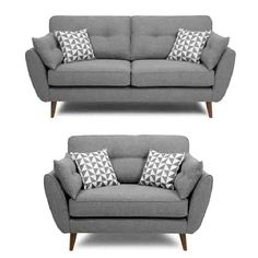 French Connection Grey Sofa And Cuddle Chair