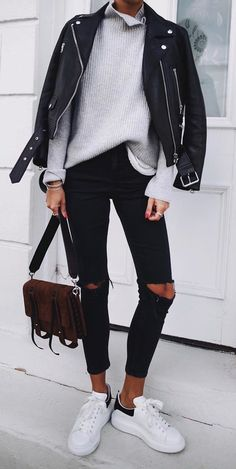 #fall #outfits black leather zip-up jacket
