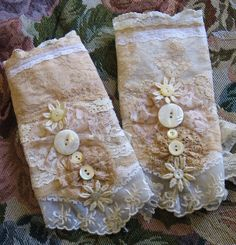 Upcycled lace scrap cuffs with button embellishment