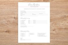 Client Booking Form Wedding Photography Booking Form