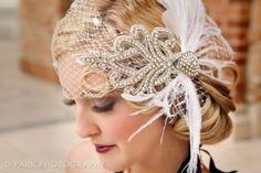 020 1920s Vintage Unique Sophisticated Chic Wedding Birdcage Headpiece Veil