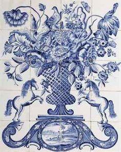 Dutch Makkum blue and white floral tile picture painted by Hendrik Bastiaans de Haan at the Tichelaar manufactory, circa 1840