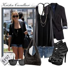 Black and denim with silver accents  #style #fashion