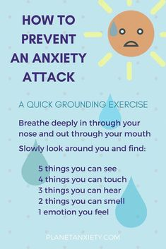 This is a very easy & effective grounding exercise to prevent an anxiety attack in its midst. It can help when you feel like you've gone too far in your head and lost all control of your surroundings. Anxiety Coping Skills, Anxiety Tips, Anxiety Help, Social Anxiety, Stress And Anxiety, Overcoming Anxiety, Quotes On Anxiety, Anxiety And Depression, Mental Health