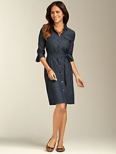Talbots - Denim Shirtdress | Dresses | Misses This would look cute with some bright jewelry