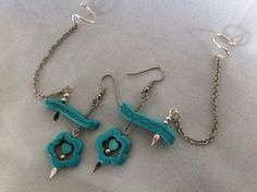 Turquoise Silver Dangle w/ Attached Ear Cuff Set of 2 on Etsy, $24.50