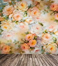 Painted Roses Wooden Floor Background Vinyl Studio 5x7ft Photo Backdrops Props