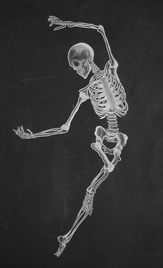 Another dancing skeleton, I know, but how could I resist this lovely chalkboard version of graceful movement?